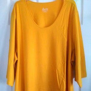 Denim & Co Yellow Jersey Knit Tee- NWT- 5X
